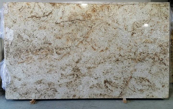 Gold yellow and cream granite countertops for Cream colored granite countertops