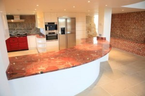Red Color Granite Countertops Kitchen Design in North GA and Atlanta