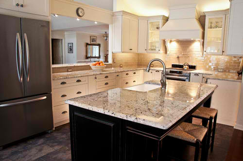 White granite countertops and gray granite countertops