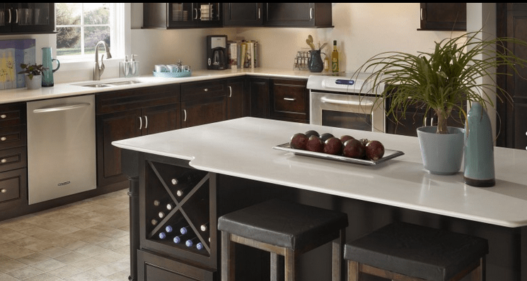 White Silestone kitchen counter