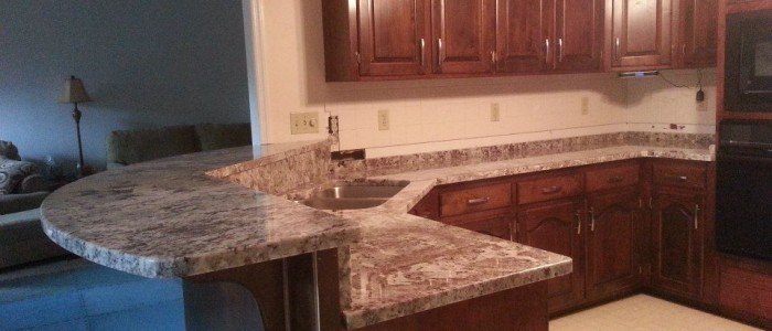 Here is the finished product ~ our beautiful granite counter top