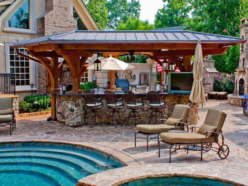 Question Of The Day How Can I Transform My Backyard Granite Best Backyard Designs With Pool And Outdoor Kitchen Set