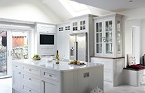Kitchen with White Quartz Countertops