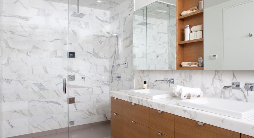 Granite or Marble Slabs in a Shower