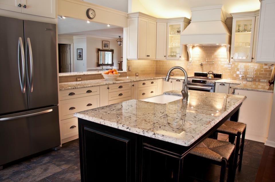 White Galaxy Granite with an almond glass tile backsplash
