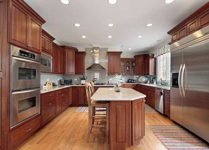 Cherry-stained kitchens