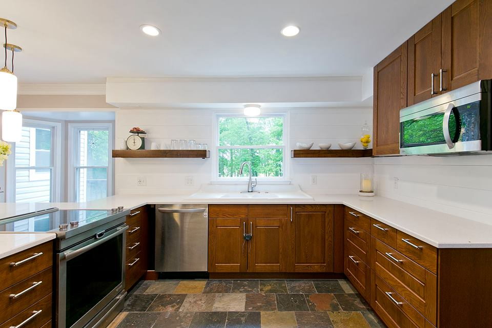 Chestnut Cabinetry, Nougat Counters Turn into an Inviting Kitchen!