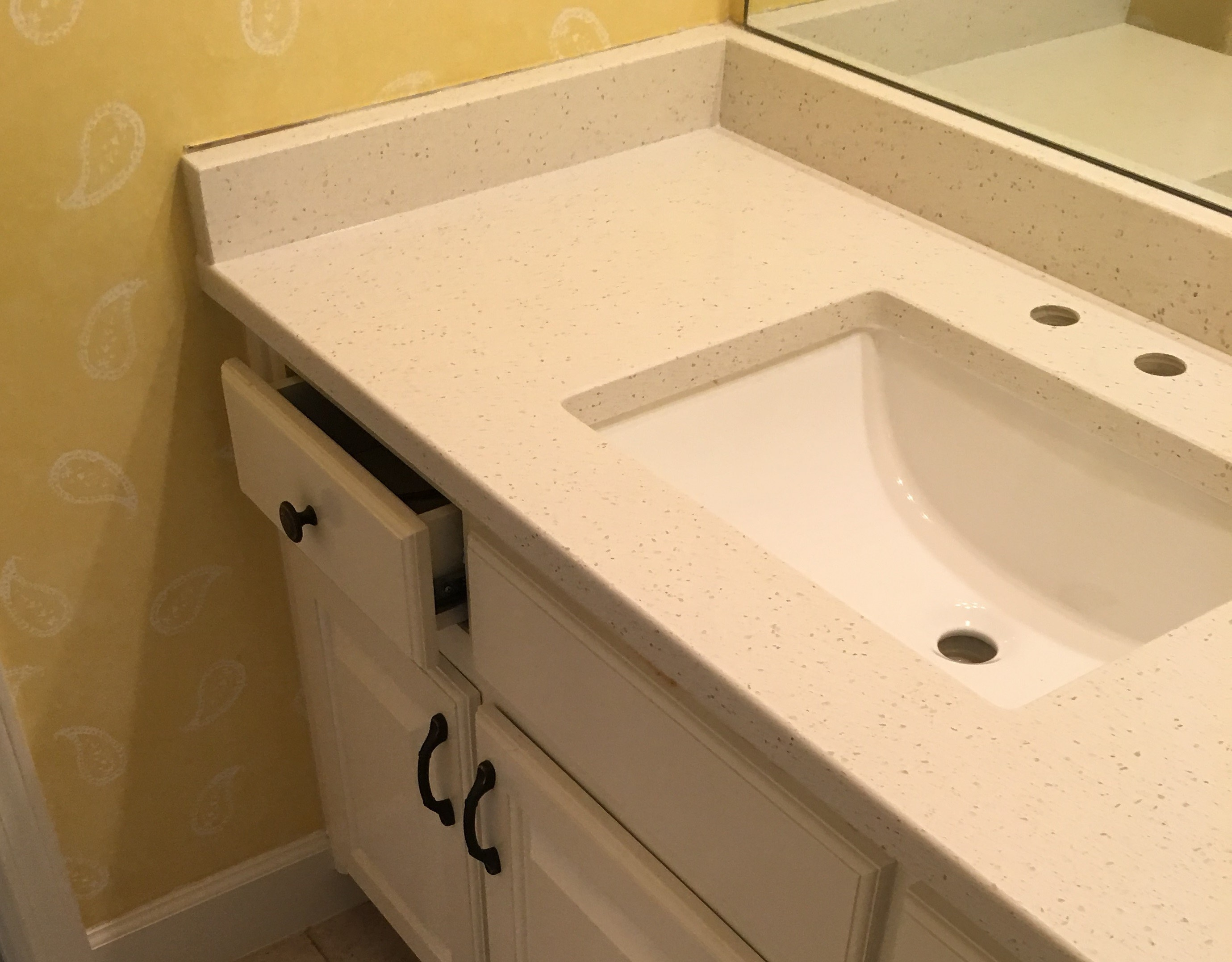 Project Profile: Sparkling White Quartz Vanity Top in Kennesaw, GA 30152