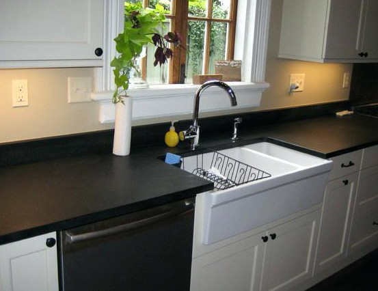 Honed Black Granite countertops