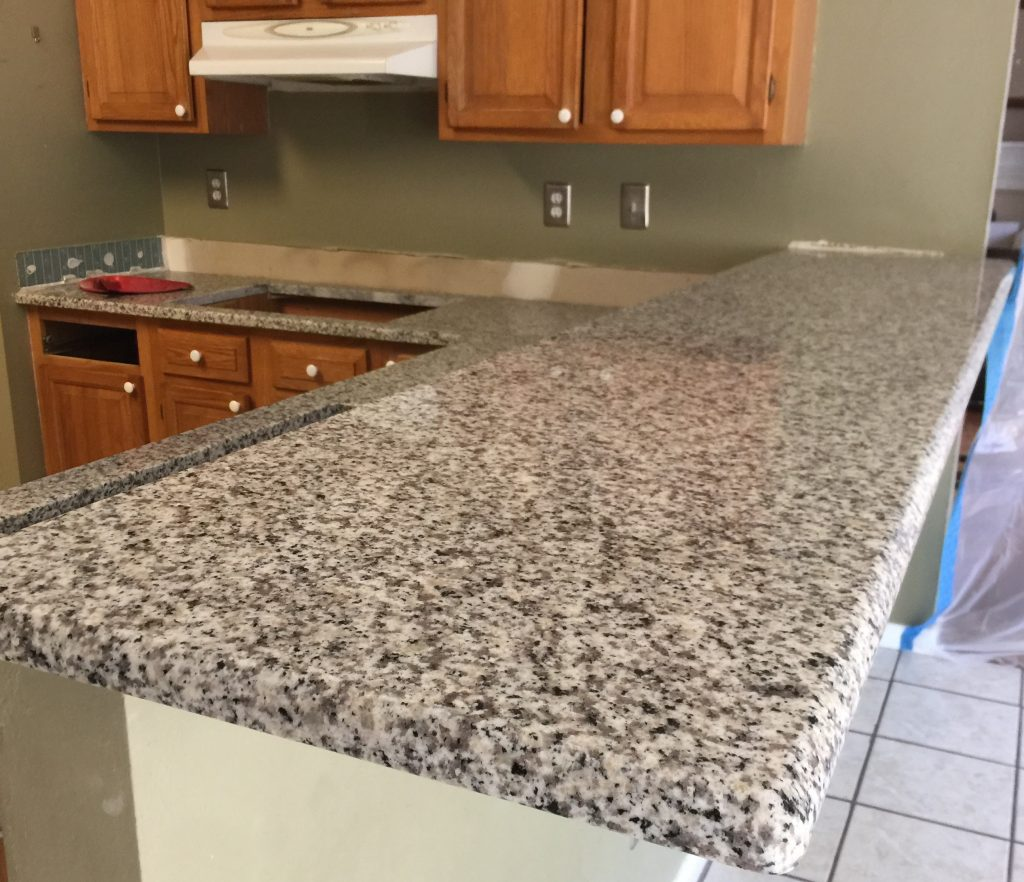 Beautiful Luna Pearl Granite countertops in a Kitchen Project