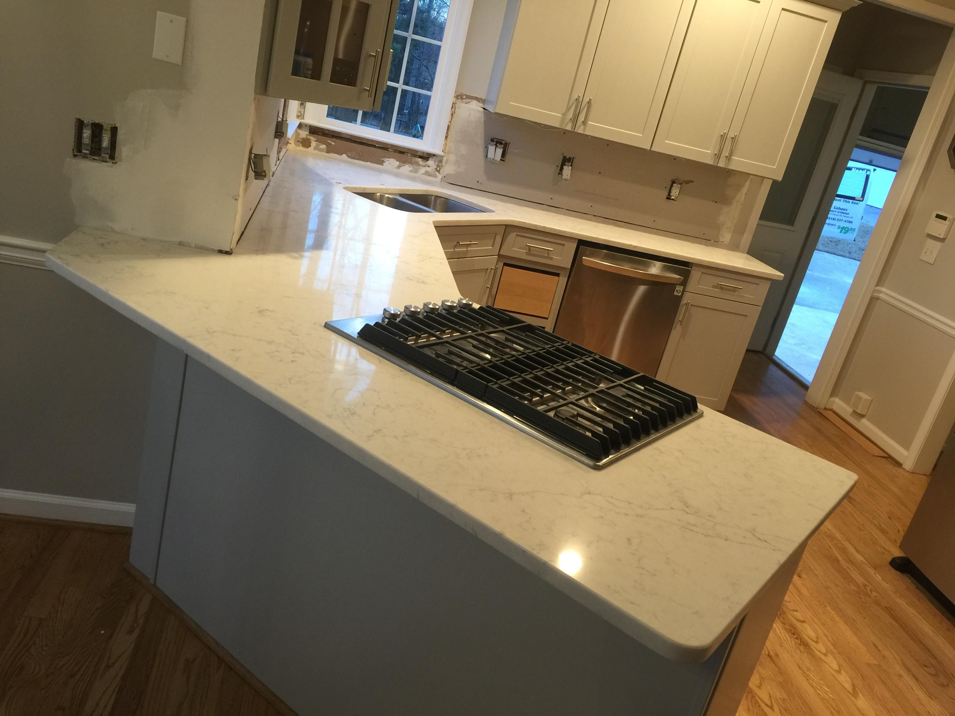 Project Profile Arctic Carrara Quartz Kitchen Countertops In