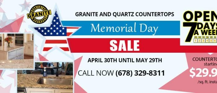 Granite Countertop Warehouse is having it's 2019 Memorial Day Sale.