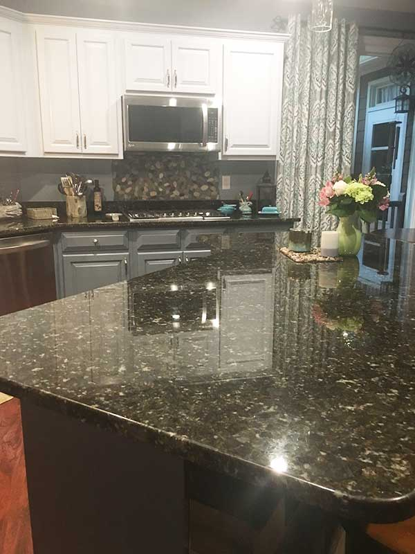 Photo of Butterfly Green Granite installed for a customer in Woodstock, GA.