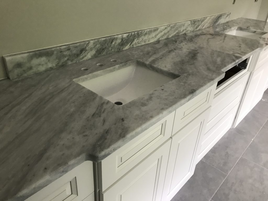 Shadow Storm Marble Master Bathroom in Kennesaw