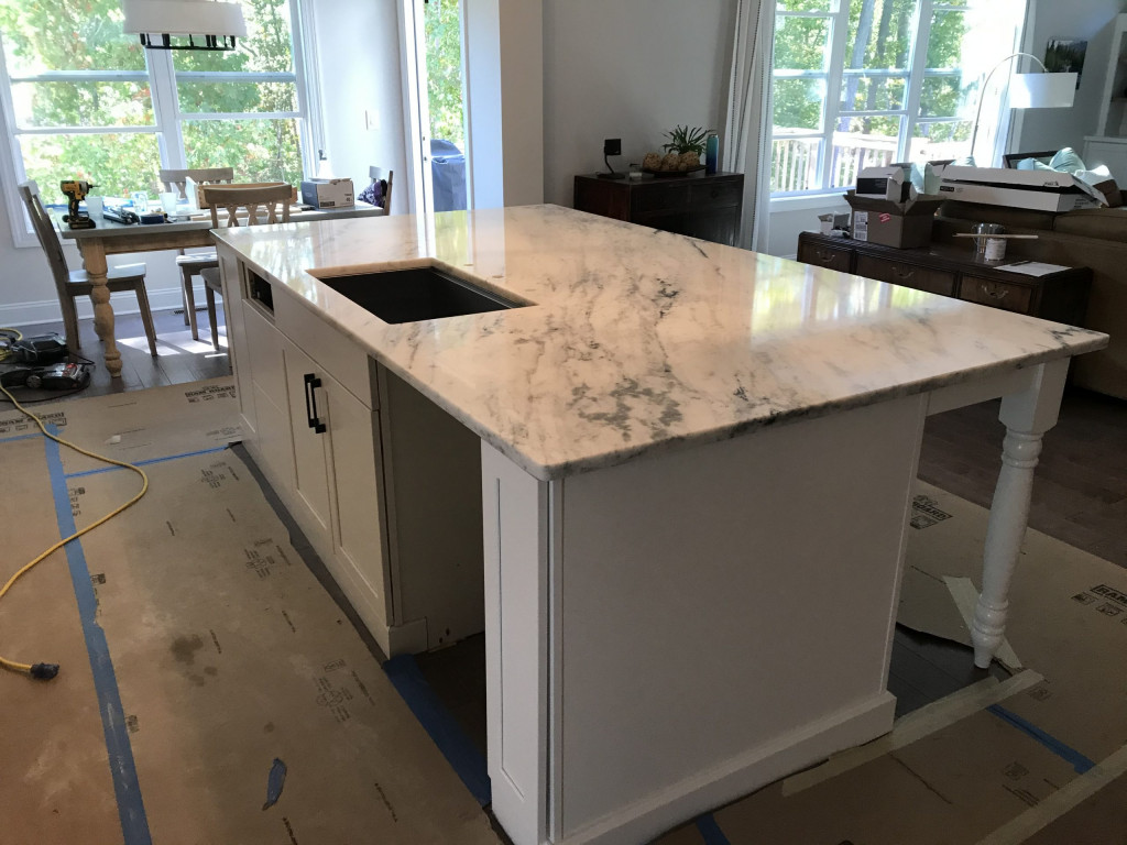 Shadow Storm Island on White Cabinets
